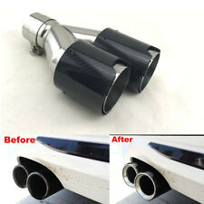 FOR BMW 63MM-90MM LEFT SIDE  Exhaust Tailpipe Tip Dual Pipes  Carbon Fiber