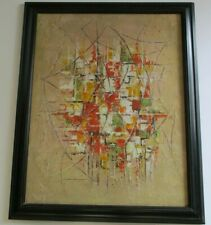 MYSTERY  PAINTING MID CENTURY MODERN CUBIST CUBISM   GEOMETRIC POP MODERNISM