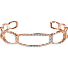 "Diamond Cuff 6 1/4"" Bracelet In 14K Rose Gold (3/4 ct. tw"