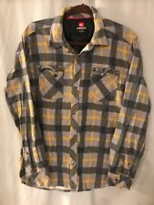 Quicksilver Mens M Long Sleeve Flannel Shirt Lightweight Gray Plaid TS8