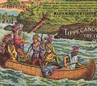 Tippecanoe Bitters 1880's Indian War Canoe Malaria Cure Advertising Trade Card