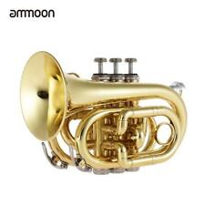 Ammole Mini Pocket Trumpet Bb Instrument à vent en laiton plat avec gants P5A6
