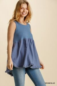 Umgee Denim Blue Round Neck Waffle Knit Top with Fringed High Low Scoop