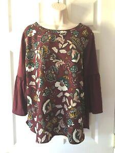 Van Heusen Women's Blouse Size L Floral Bell 3/4 Sleeve Pullover Top