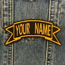 PERSONALISED CUSTOM MADE TO ORDER RIBBON BIKER PATCHES SEW ON EMBROIDERED PATCH
