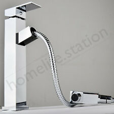Modern Tall Monobloc Chrome Sink Basin Bathroom Faucet Pull Out Spray Swivel Tap