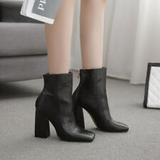 Womens Patent Leather Casual High Block Heels Chic Square Toe Zipper Ankle Boots