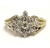 10k yellow gold .46ct SI3-I1 I round diamond cluster ring 4g estate