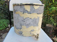 RARE OLD ANTIQUE GALVANIZED TIN ORIGINAL WHITE PAINT SINK BARREL WATER BASIN