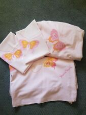 Vtg Hanae Mori Twin Sheet Set ~Fitted,Flat,2 Cases~Percale Pink Butterfly As Is
