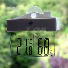 Transparent LCD Thermometer Hydrometer Window Indoor Outdoor Weather Station