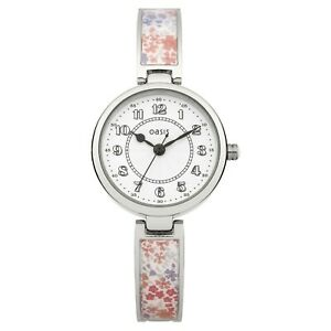 Oasis Women's Quartz Watch White Dial Analogue Display and Multicolour Bangle