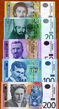 SET Serbia, 10;20;50;100;200 Dinara, 2010-2016, UNC