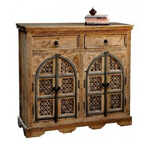 MADE TO ORDER Hand Carved Indian Style Solid Wood Natural Brown Sideboard Floral