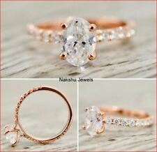 2Ct Oval Cut White Moissanite Bridal Engagement Ring Solid In 14k Rose Gold
