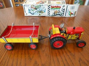 Vintage 1991 Kovap Zetor Tractor and Trailer, Tin Lithograph, Wind Up,  #784 NIB