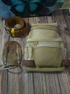 Vintage 4 Pocket Craftsman Leather Carpenter Cowhide Pouch Tool Belt 9-37542