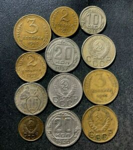 Old Soviet Union/CCCP Coin Lot - 1932-1957 - 12 Older Series Coins - Lot #S16
