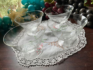 Vintage wheat etched Fruit coupe bowl Glasses Set Of 4