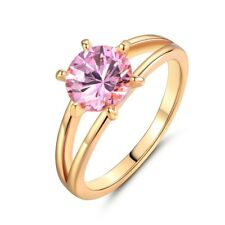 18k gold filled pink topaz gemstone jewelry women love wedding rings Size 5
