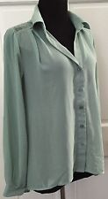Forever 21 Womens Mint Green Button Down Shirt Blouse SZ M Lace Back V Neck