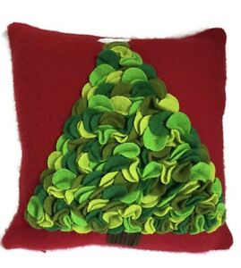 """Crate & Barrel Christmas Tree Pillow Red Wool Blend Down Pillow & Cover 12""""x12"""""""