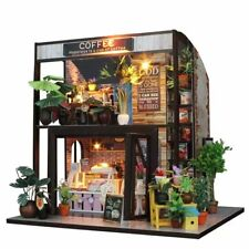 DIY Dollhouse Kit Miniature Coffee House With Led Light Funiture