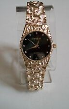 Geneva  Gold Finish Nugget style  bracelet fashion men's watch