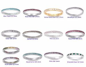 .925 Sterling Silver STACKABLE ETERNITY BAND RINGS W/ COLORED CRYSTAL CZ STONE