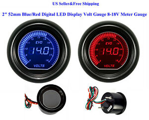 "2"" 52mm Blue/Red Digital LED Display Volt Gauge 8-18V Meter Gauge Boat Car"