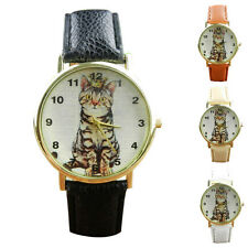 Casual Watch Men Women Diamond Lovely Cats Face Faux Leather Analog Quartz Watch