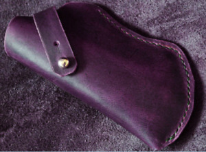 Eyeglasses Case sunglasses bag glasses Pouch spectacle cow Leather purple z735-2