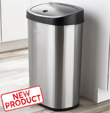 13 Gal Trash Can Motion Sensor Stainless Steel Kitchen Garbage Hands Free Lid