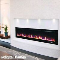 50 60 72 INCH LED 'DIGITAL FLAMES' BLACK/WHITE INSERT WALL MOUNTED ELECTRIC FIRE