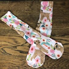 Brussels Griffon Dog Crew Socks Floral Calf Socks Casual One Size Pink