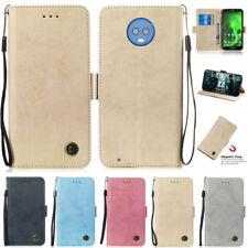 For Motorola Moto G5S G6 E5 G7 Plus G7 Play Matte Wallet Leather Flip Case Cover