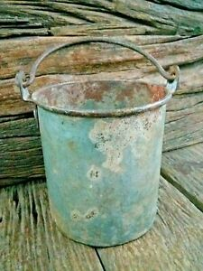 Rare Antique Vintage Galvanised Hanging Small Bucket With Lid Garden Planter Pot