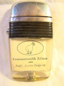 Nice Vintage Scripto Vu-Lighter Commonwealth Edison Light Bulb W/ Legs Lighter