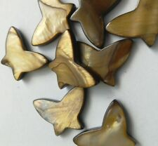 10 Butterfly Shell Beads, Coffee 20 mm,  Embellishment/Crafts/Jewellery/Bead/Sew