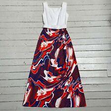 VTG 1960s LANZ ORIGINALS Psychedelic Print Boho Maxi Cotton Dress SM