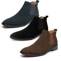 Fashion Men Cowboy Casual Boots Suede England Shoes Pointed Toe Business Dress