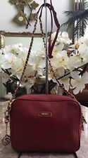 DKNY Red Pebbled Leather Chain Link Cross-Body Bag EUC!