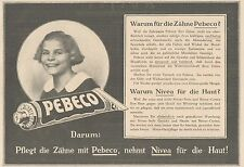 Y4214 Zahnpasta PEBECO - Pubblicità d'epoca - 1925 Old advertising