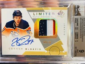 2018-19 SPA - Connor McDavid - Limited Auto Materials Patch SP /10 - Oilers BGS9