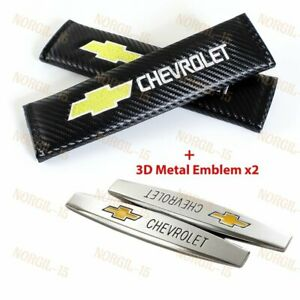 2X Carbon Embroidery Seat Belt Cover Shoulder Pads + 3D Metal EMBLEM for Chevy