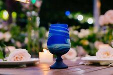Elegant Blue Wine Goblet Glass Drinking Glassware Hand Blown Hebron Glass