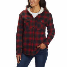 NEW Boston Trader Womens Shirt RED Flannel Check Plaid Hooded Sherpa Lined XL