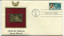 1988 FIRST DAY COVER ANTARTIC EXPLORERS LINCOLN ELLSWORTH w/ GOLD REPLICA STAMP