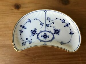 Rare Antique Royal Copenhagen Blue Fluted Gilt Edge Half Moon Dish 1/154 1900-23