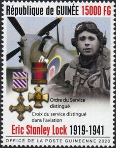 WWII 1940 Battle of Britain ERIC LOCK RAF Ace Pilot Aircraft Stamp (2020 Guinea)